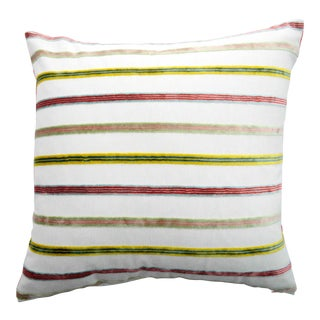FirmaMenta Italian Multicolor Striped Light Blue Velvet Pillow For Sale