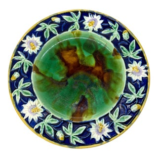 English Majolica Passion Flower Plate With Mottled Center, Cobalt Ca. 1880. For Sale