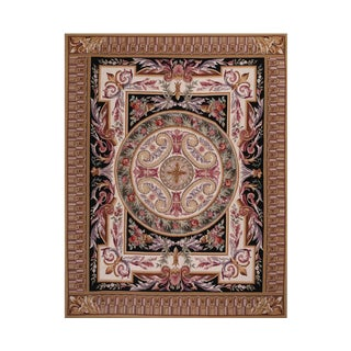 Hand Woven French Floral Needlepoint Rug - 8′ × 10′ For Sale