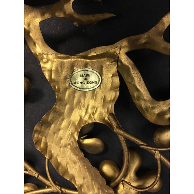 Gold Asian Brass Wall Hangings - Set of 4 For Sale - Image 8 of 9