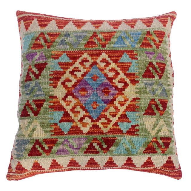 "Christop Red/Ivory Hand-Woven Kilim Throw Pillow(18""x18"") For Sale"