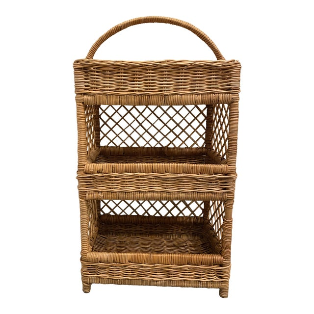 Large Palm Beach Wicker 3-Tier Tall Basket With Shelving For Sale