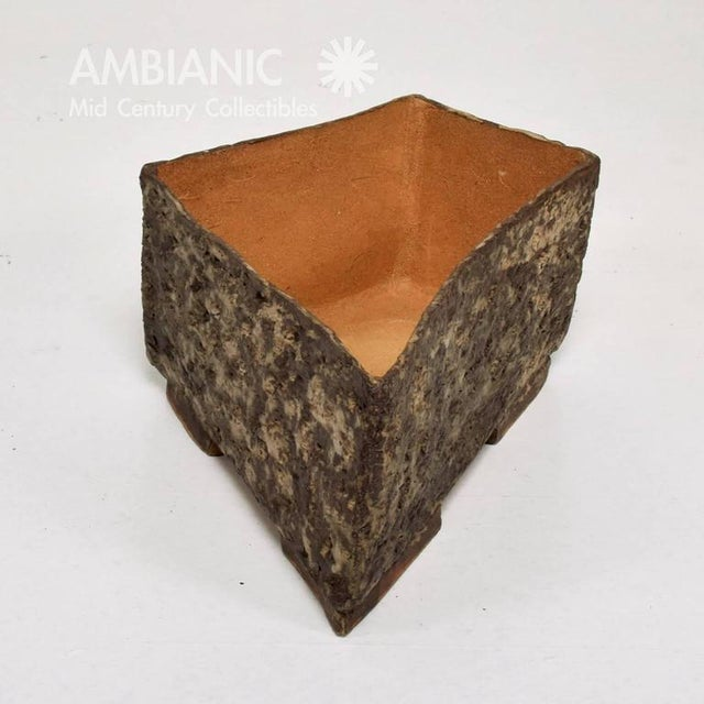 """For your consideration a Mid-Century period planter. Clean modern lines with unique construction. Unmarked. 7 1/2"""" Tall x..."""