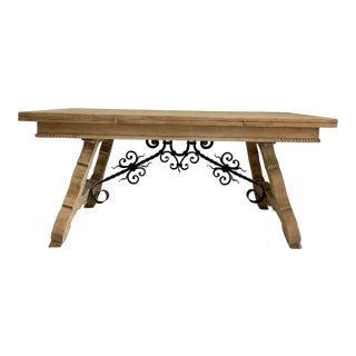 Bleached Parquet Top French Farm Dining Table For Sale