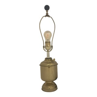 1950s Solid Polished Brass Converted Oil Lamp For Sale