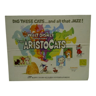 """Walt Disney's """"The Aristocats"""" Movie Poster -- Re-Released by Buena Vista -- 1970 For Sale"""