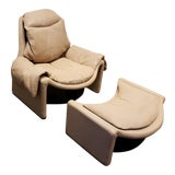 Image of P60 Lounge Chair and Ottoman by Vittorio Introini for Saporiti For Sale