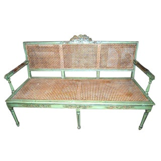 19th C. Caned & Painted Bench