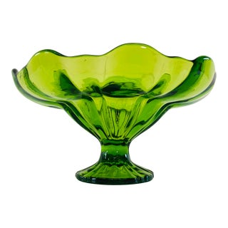 1960s Viking Glass Small Verde Compote For Sale