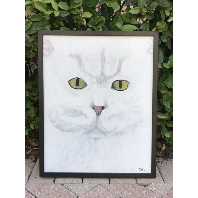 White Late 20th Century Modernist Style Cat Painting, Framed For Sale - Image 8 of 8