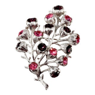 Sarah Coventry Wisteria Pink Purple Rhinestone Brooch For Sale