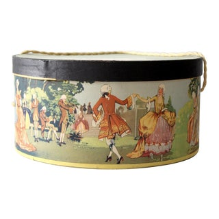 Vintage French Scenery Hat Box For Sale