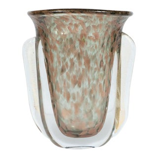 Mid-Century Handblown Murano Glass Vase With 24k Yellow and Rose Gold by Vistosi For Sale