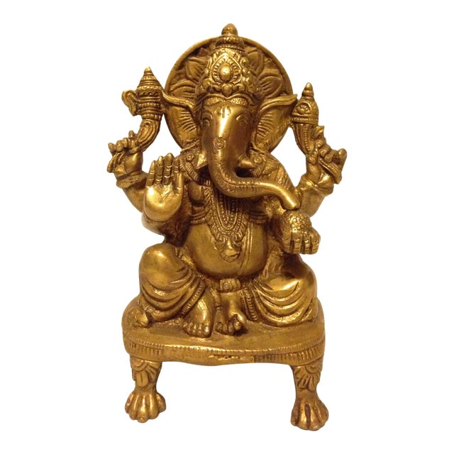 Solid Brass Ganesha Figure For Sale