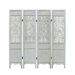 Chinese Distressed Off-White Lacquer Flower Birds Wood Panel Floor Screen For Sale