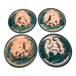 Hand-Painted Spanish Ceramic Alfar Fraile Rabbit Wall Plates For Sale