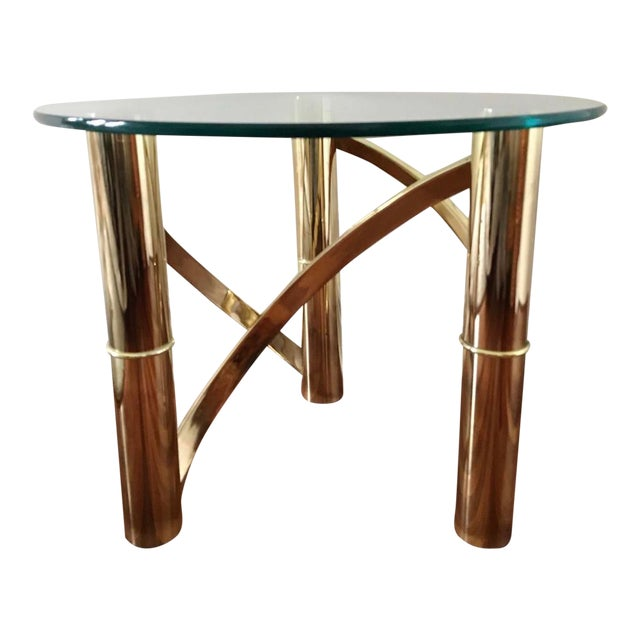 Mid-Century Modern Round Glass & Curved Brass Side End Table For Sale