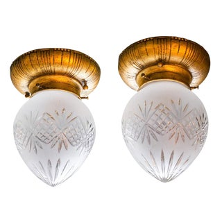 Pair of Cut Crystal Lights For Sale