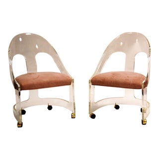 Chic Lucite Spoonback Chairs - A Pair