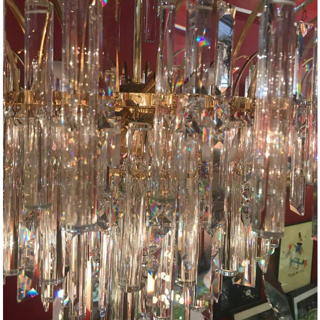 1970s Vintage Crystal and Gold Plated Mid-Century Modern Chandelier For Sale - Image 5 of 10