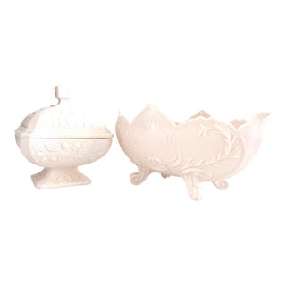 1950s American Pink Milk Glass Candy Dish & Footed Bowl - a Pair For Sale