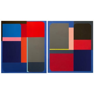 Original Abstract Geometric Paintings by Brooks Burns - a Pair For Sale
