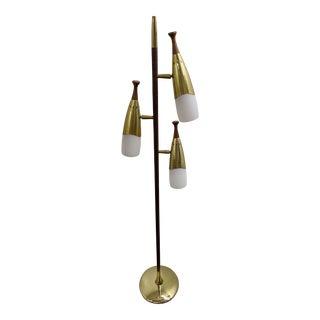 Laurel Three-Shade Walnut and Brass Floor Lamp For Sale