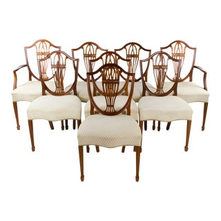 Hepplewhite Style Mahogany Shield Back Dining Chairs - Set of 8 For Sale