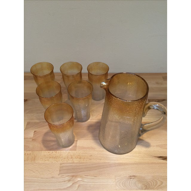 Mid-Century Crackle Glass Pitcher & Six Glasses For Sale - Image 5 of 8
