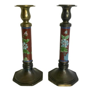 Vintage Chinoiserie Cloisonné and Brass Candle Holders - a Pair For Sale