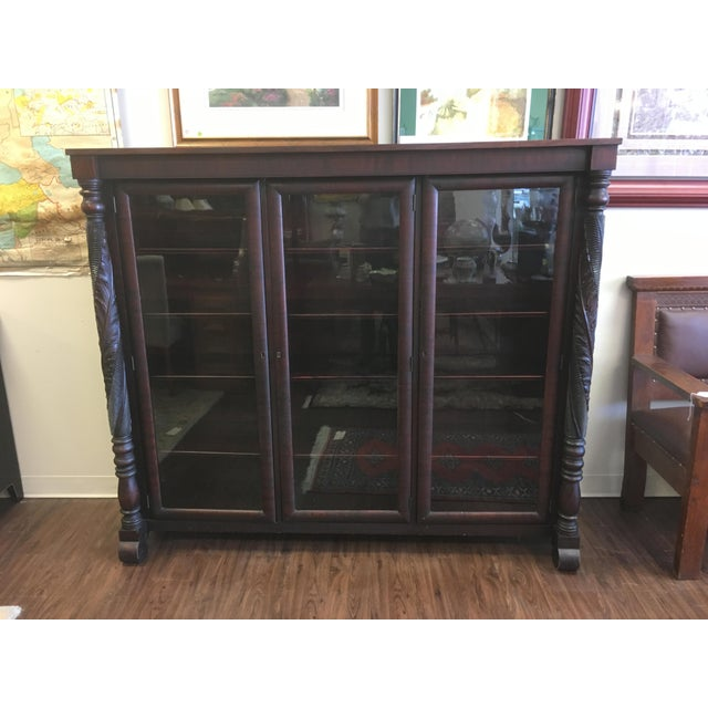 Early 1900s Acanthus Carved Mahogany 3-Door Bookcase For Sale - Image 10 of 10