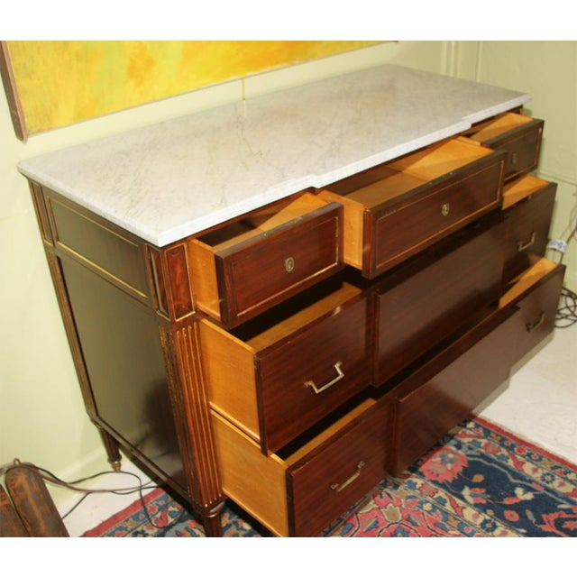 Brown Louis XVI Style Jansen Mahogany Commode For Sale - Image 8 of 9