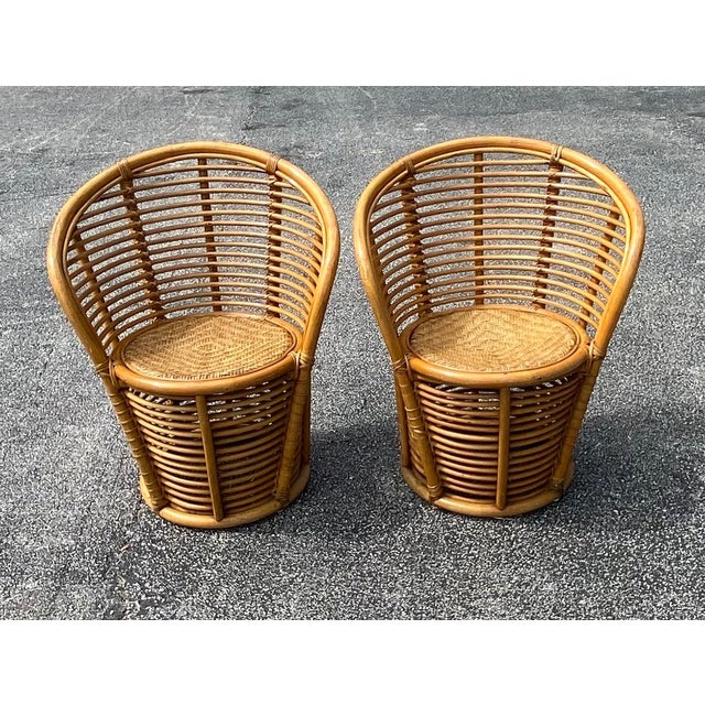Late 20th Century Vintage Coastal Rattan Side Chairs - a Pair For Sale - Image 5 of 7