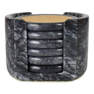 Postmodern Gray Marble and Cork Cocktail or Drink Coaster Set With Holder - 7 Pieces For Sale