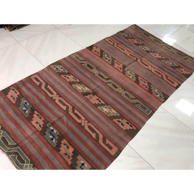 1960s Turkish Tribal Handmade Kilim Rug - 4′ × 8′1″ For Sale - Image 5 of 11