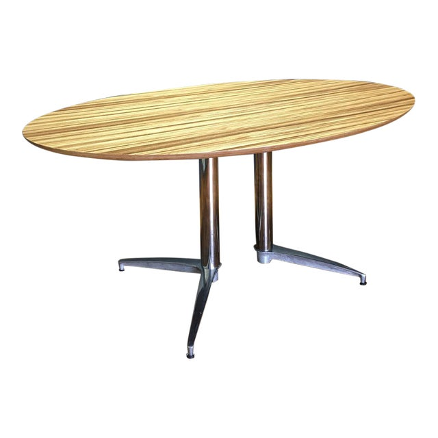 Crate & Barrel Modern Round Dining Table - Image 1 of 10