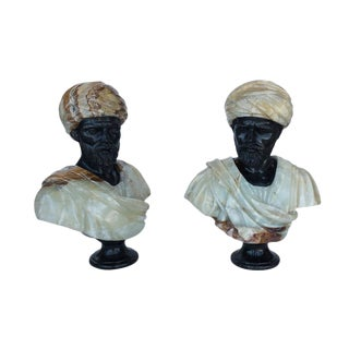 Hand Carved Marble and Onyx Moro Busts - a Pair For Sale