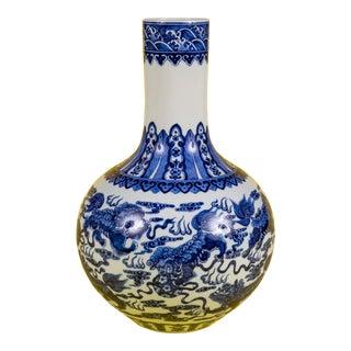 1970's Blue and White Foo Dog Gourd Vase For Sale