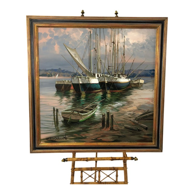 Modern Big Bold Canvas Painting of Harbor Sailboats For Sale