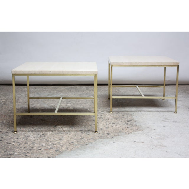 Mid-Century Modern Paul McCobb Travertine and Brass Occasional Tables For Sale - Image 3 of 13
