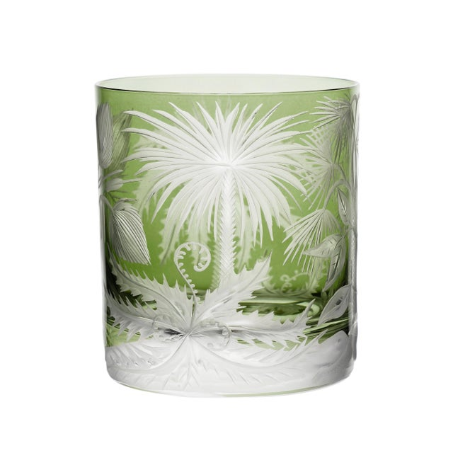 Not Yet Made - Made To Order ARTEL Primeval Palms Double Old Fashioned Glass in Khaki Green - Set of 6 For Sale - Image 5 of 7