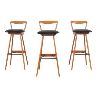 Henry Rosengren Hansen Danish Teak Bar Stools for Brande Møbelindustri For Sale