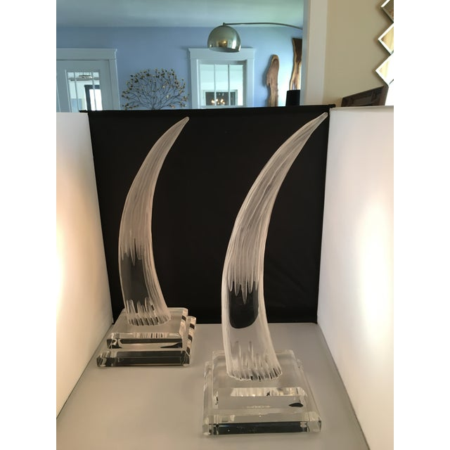 Hivo Van Teal Lucite Tusk Sculptures - A Pair - Image 4 of 4