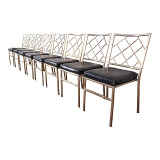 Mid-Century Modern Hollywood Regency Faux Bamboo Brass Dining Chairs - Set of 8 For Sale