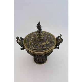 """Jules Moigniez 19th Century """"Coupe Aux Cigognes"""" Hunting Bronze Covered Urn Preview"""
