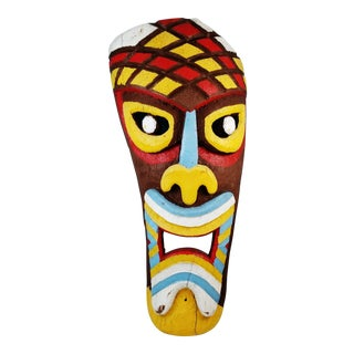 Original Vintage Pacific 4ft Carved Wood Painted Tiki Face For Sale