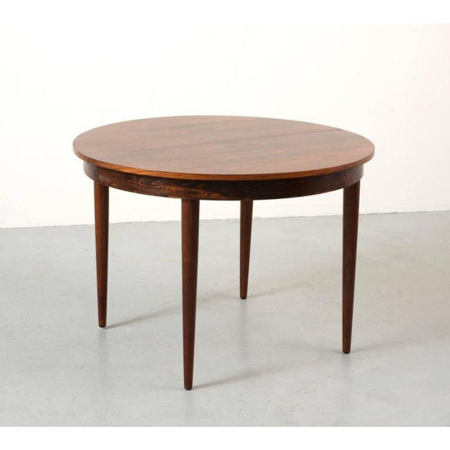 Round Hans Olsen Rosewood Dining Table with Extension Leaf - Image 2 of 9