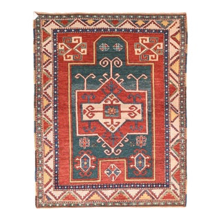 Vintage Kazak Fachralo Russian Rug- 4′ × 5′2″ For Sale