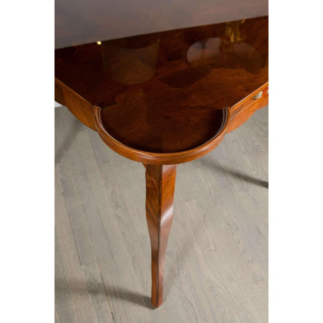 Exceptional Art Deco Game Table With Exotic Burled Walnut Inlay For Sale - Image 10 of 11