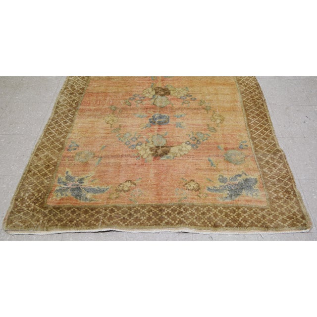 Vintage Turkish Oushak Hand Knotted Organic Wool Fine Weave Rug,5'x10' For Sale - Image 4 of 6